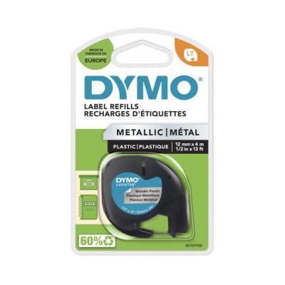 Ruban Letratag LT Dymo LT - Ruban cassette - 12 mm x 4 m - noir sur argent