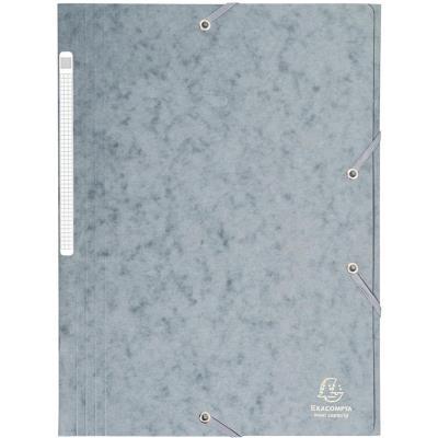 Chemise Exacompta Maxi Capacity - 3 rabats et élastique - carte lustrée 425g - coloris gris (photo)