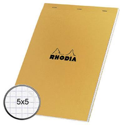 Bloc de bureau Rhodia - 80 g - 21 x 29,7cm - petits carreaux - 80 feuilles microperforées détachables (photo)