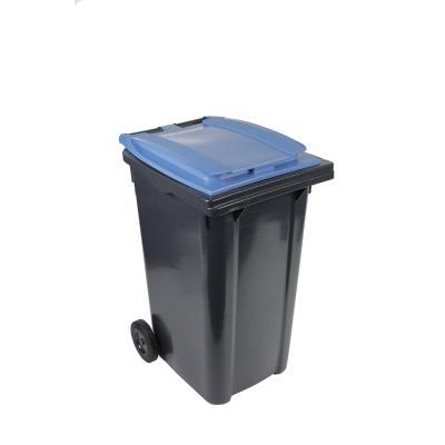 Conteneur poubelle mobile 2 roues - 240 litres prise frontale - couvercle bleu (photo)