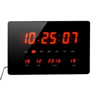 Horloge à Led rouge Chronos - murale ou à poser - multifonctions - 36 x 22 cm (photo)
