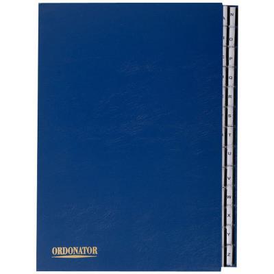 Trieur alphabétique 26 compartiments bleu couverture rigide plastifiée onglets en plastique