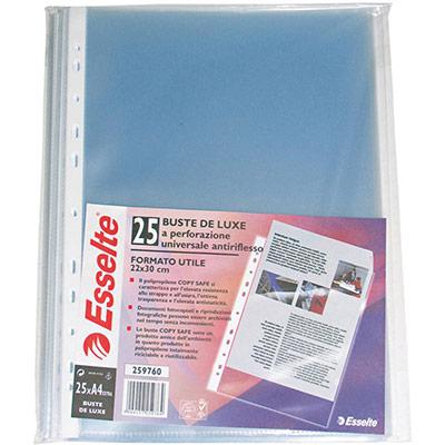 Pochette perforée lisse Esselte - A4 - polypropylène 90 microns - 11 trous - transparent - paquet 25 unités (photo)