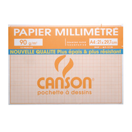 Feuilles à dessin millimétré Canson - 72 g - format A4 : 21 x 29,7 cm - coloris bistre - pochette de 12