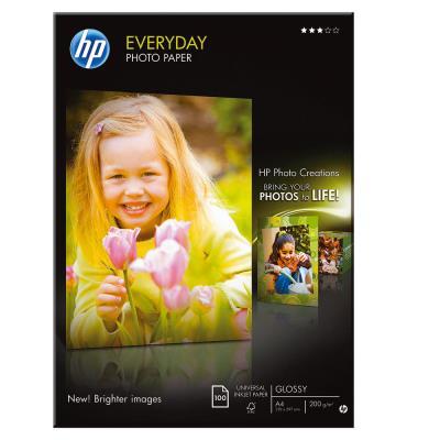 Papier photo brillant HP A4 blanc 200g Everyday pour jet d'encre - boîte de 100 feuilles