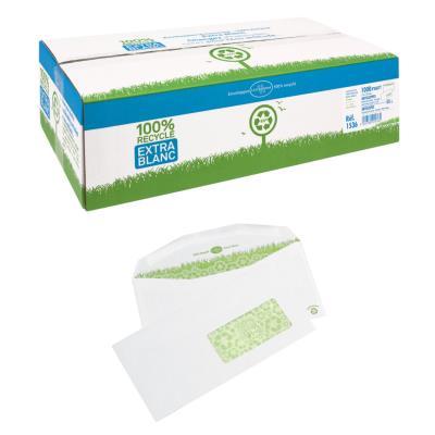 Enveloppe papier La Couronne format C6 - 114 x 229 mm - avec fenêtre - 80 g/m² fermeture gommée - blanc - paquet 1000 unités