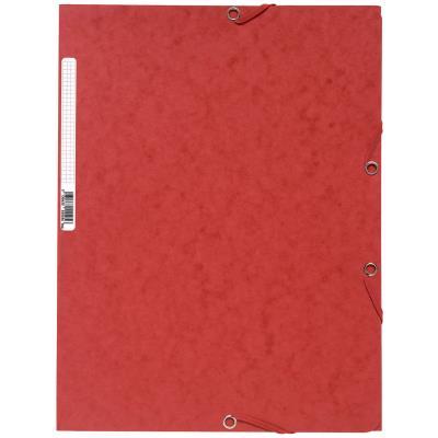 Chemise Exacompta 3 rabats et élastique - carte lustrée 5/10e - 400gr - Format 24x32cm - Coloris rouge.