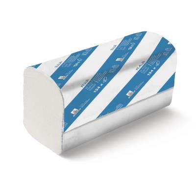 Serviettes en papier pliées - pliage en W - double épaisseur - 134 feuilles - gaufrées - 220 mm - blanc - carton 20 x 134 unités