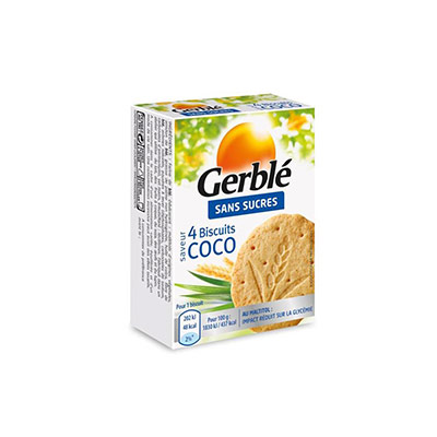 Biscuits diététiques Saveur Noix de Coco - sans  sucres - boîte de 4 - paquet 18 x 44 grammes (photo)