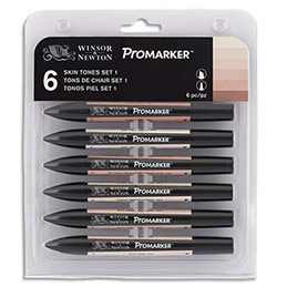Marqueurs double pointe Promaker Winsor&Newton - à base d'alcool - tons chair assortis - lot de 6 (photo)