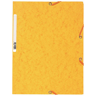 Chemise Exacompta 3 rabats et élastique - carte lustrée 5/10e - 400gr - Format 24x32cm - Coloris jaune.