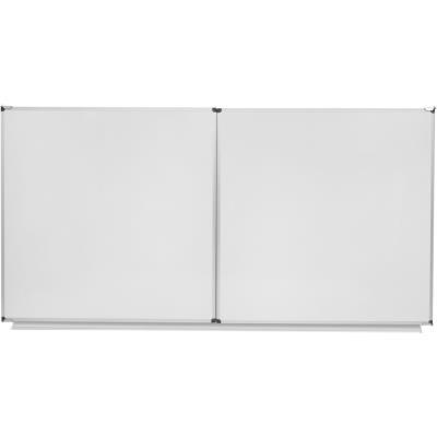 Tableau triptyque blanc émaillé NF Bi-Office - cadre alu -  100 cm x 200 cm - fermé