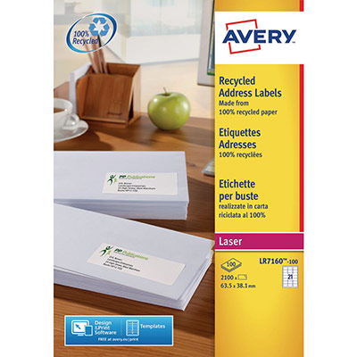 Etiquettes adresse recyclées Avery LR7160  - blanc - laser - format 63,5 x 38,1 mm - 100 feuilles - boîte de 2100