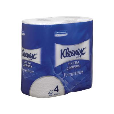 Rouleau de papier toilette Kleenex Premium Standard - quadruple épaisseur - 160 feuilles - 98 mm - blanc - carton 6 x 4 rouleaux