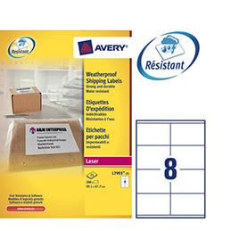 Etiquettes Avery L7993 - laser ultra résistante - blanc - 99,1 x 67,7 mm - spécial expédition