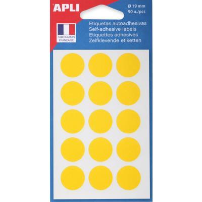 Pastilles adhésives de couleur Agipa - Ø 19 mm - coloris jaune - pochette de 90