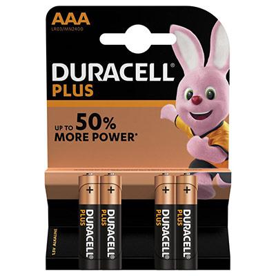 Pile Duracell AAA LR3 Plus Power alcalines - 1,5V - blister de 4piles (photo)