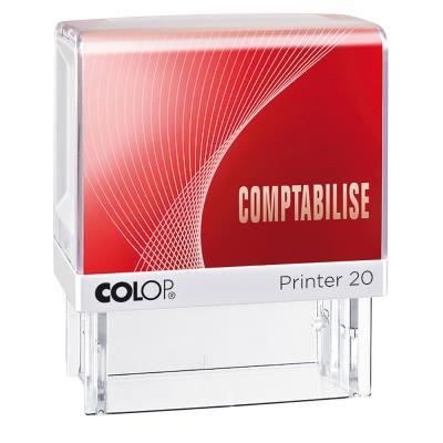 Tampon à formule Colop : COMPTABILISE - encrage automatique - empreinte rouge 38 x 14 mm