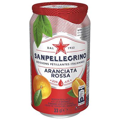 Boisson pétillante aux jus d'orange et d'orange sanguine Aranciata Rossa San Pellegrino - canette 33 cl (photo)