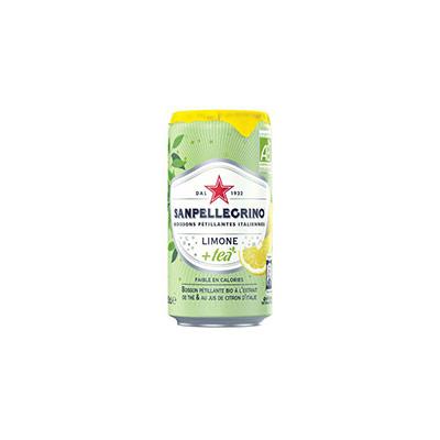 Boisson pétillante bio à l'extrait de thé et au jus de citron d'Italie Limone + Tea San Pellegrino - canette 25 cl (photo)