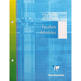 Feuilles mobiles Clairefontaine - 200 pages - 17 x 22 cm - Séyès - Perforation 2 trous - blanc (photo)
