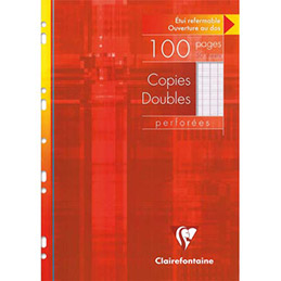 Copies doubles perforées Clairefontaine -  blanche 21 x 29.7cm - 100 pages grands carreaux - 90g - Sous étuis carton (photo)