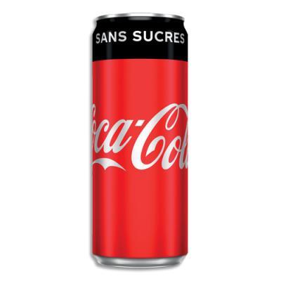 Coca Cola Zero - canette 33 cl - soda sans sucre - Pack de 24 (photo)