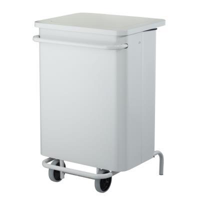 Poubelle à pédale mobile Collecroule Carène - 70 litres - blanc