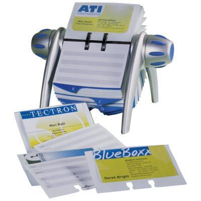 Fichier rotatif Visifix Flip - équipé de 200 pochettes pour 400 cartes de visite - noir et gris