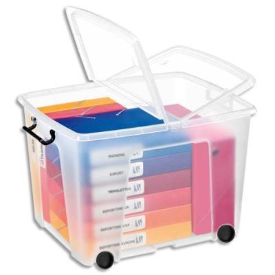 Boîte de rangement en plastique à roulettes Strata - 75 L - couvercle clipsé - dim int 38 x 48 x 37 cm - 75 L - avec roues (photo)