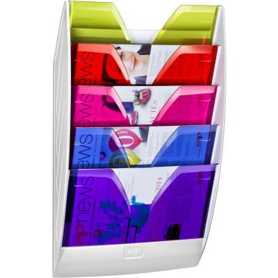 Présentoir mural Cep Happy - 5 cases multicolore - Dim hors tout : l 35 x h 58,4 x p 12 cm