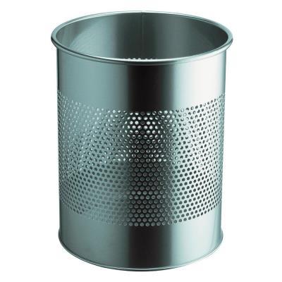 Corbeille à papier métal ajourée - 15 litres - argent