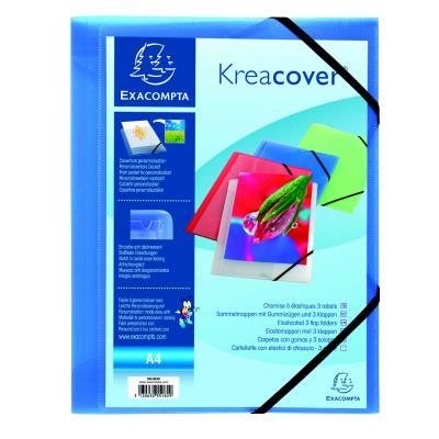 Chemise personnalisable 1 face à élastique Exacompta Kreacover - polypropylène - bleu transparent