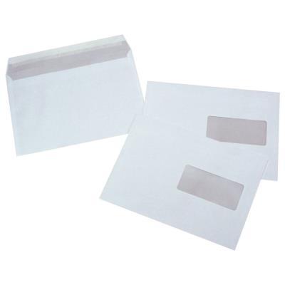 Enveloppe blanche C5 - 162 x 229 mm 80g avec fenêtre - bande autoadhésive - paquet 500 unités