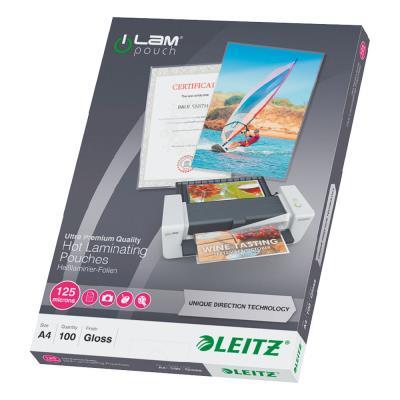 Pochette de plastification Leitz A4 UDT - transparente - 125 µ - paquet 100 unités
