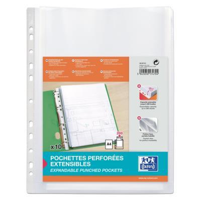 Pochettes perforées pour plans Elba - polypropylène 20/100e - sans rabat - soufflet 2 cm - A4 - lot de 10