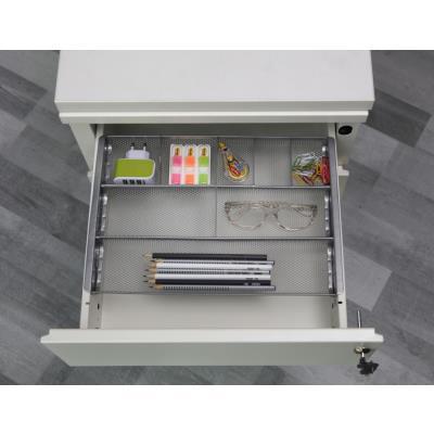 Organiseur de tiroir Alba Meshorg - métal mesh - 8 compartiments - L34,5 x H2,5 x P24 cm - gris métal (photo)