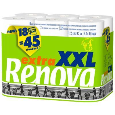 Papier toilette double épaisseur Extra XXL - maxi rouleau compact de 325 feuilles - blanc - paquet 18 rouleaux