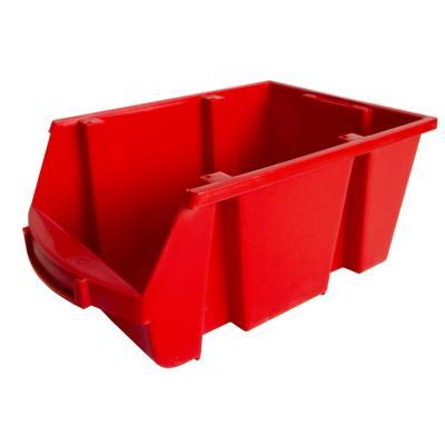 Bac à bec de rangement 10L Tekni avec porte étiquette en polypropylène rouge - L20xH15xP33 cm