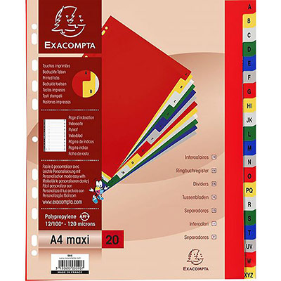 Intercalaires alphabétiques Exacompta - 20 positions multicolores - polypropylène - A4+ (photo)