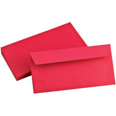 Enveloppe Pollen de Clairefontaine - format DL 110 x 220 mm - rouge groseille - 5585 - paquet de 20