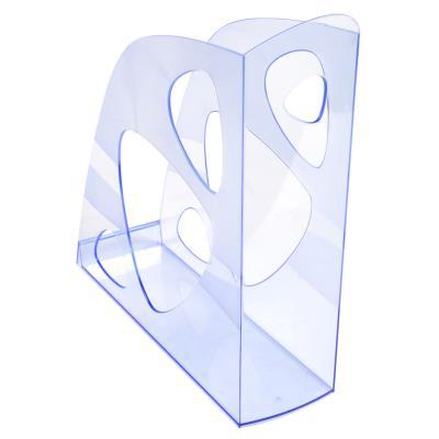 Porte-revues Eco en polystyrène  - dos de 8 cm, H25,7 x P24,8 cm - bleu translucide
