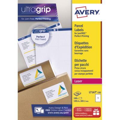 Etiquette adresse Avery L7167 - opaque - impression laser - 199,6 x 289,1 mm - blanc - boîte de 100 (photo)