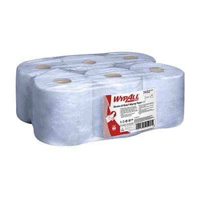 Rouleau d'essuie-tout à dévidage central - L10 EXTRA - 1 pli - 400 feuilles - 185 mm - bleu - boîte 6 x 400 unités