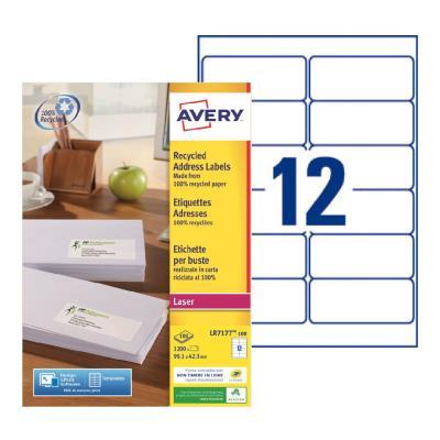 Étiquettes adresses recyclées LR7177 Avery - pour imprimante laser - 99,1 x 42,3 mm - blanc - 1200 étiquettes par boîte (photo)