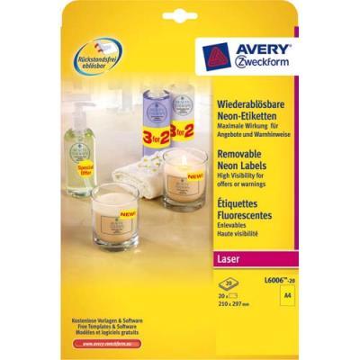 Etiquette enlevables Avery L6006 - laser - rectangulaires - jaune fluo - format 21 x 29,7 cm - boîte de 25 (photo)