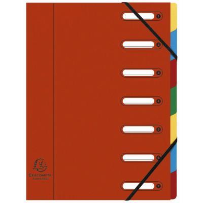 Trieur à élastique Exacompta Nature Future Harmonika Multipart A4 avec dos extensible à soufflets et fenêtres prédécoupées - 7 compartiments - 240 x 320 mm - carte lustrée - rouge