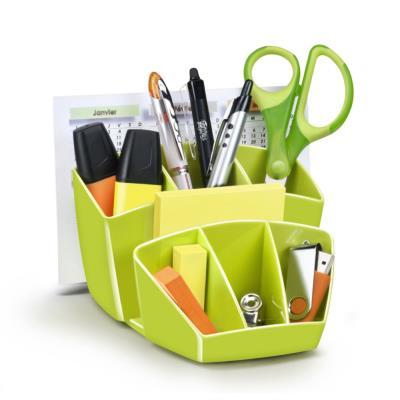 Pot à crayon CEP Gloss - multiples rangements - capacité 40 crayons - vert anis