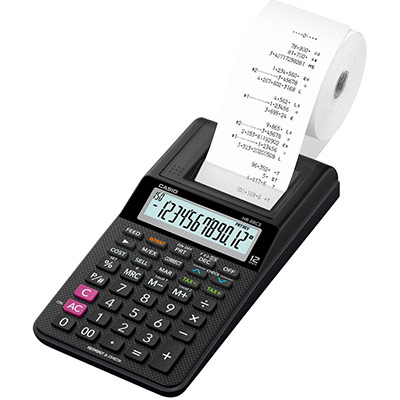 Calculatrice imprimante portable Casio HR-8 RCE - 12 chiffres - Noire