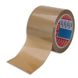 Ruban adhésif d'emballage en PVC Tesa - coloris havane - 75mm x 66 m - se déchire à la main (photo)